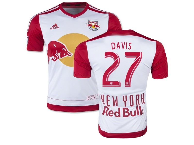 quality design 962e5 7034c Sean Davis New York Red Bulls Soccer Jersey #27 White & Red ...