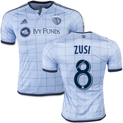 af70b2c84 Graham Zusi Sporting Kansas City Soccer Jersey  8 Light Blue Home ...